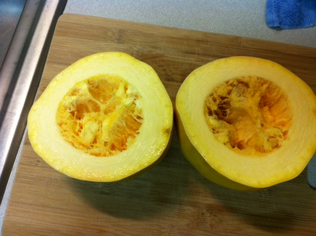 how to cut squash in half